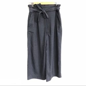 H&M cropped paper bag trousers charcoal grey